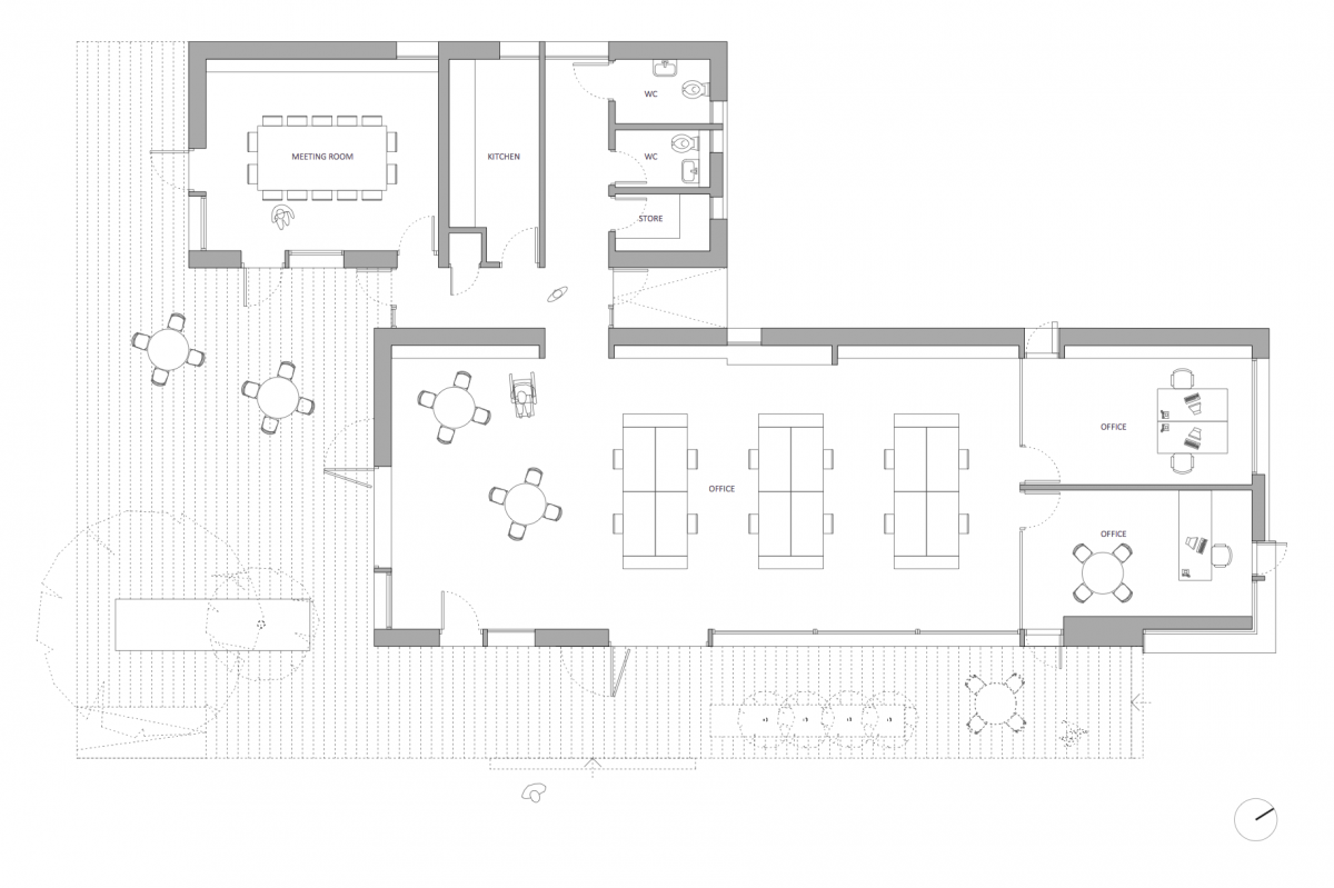 Elevation Plan For Planning Application : New build offices and warehouse conversion cricket st